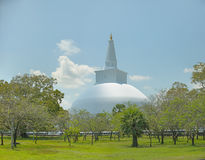 Big white stupa Ruwanwelisaya dagoba in Anuradhapura, Sri Lanka Royalty Free Stock Photos
