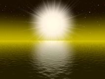 Big white sun. In the dark space Royalty Free Stock Photography