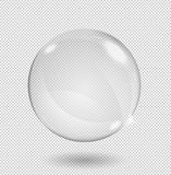 Big white transparent glass sphere with glares and highlights. Transparency only in vector format. stock illustration