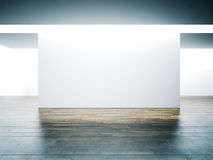 Big white wall in museum interior with wooden Stock Photos