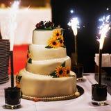 Big white weddin cake decorate sunflowers ladybird and firework Stock Photos