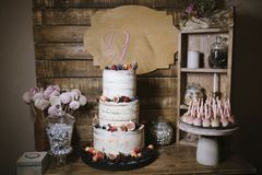 Big white wedding cake with fruit is on the table royalty free stock photo