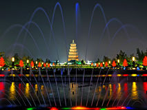 Big Wild Goose Pagoda in Xian, Shaanxi musical fountain Royalty Free Stock Photo