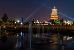 Big Wilde Goose Pagoda at Night Stock Photography