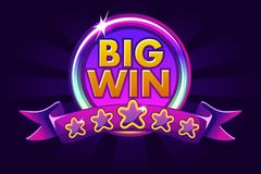 Big win banner background for online casino, poker, roulette, slot machines, card games. royalty free illustration