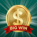 Big Win Banner. Background For Online Casino, Gambling Club, Poker, Billboard. Gold Coins Jackpot Illustration. Royalty Free Stock Photos