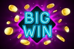 Big Win banner for gambling casino games. Bingo or lottery Stock Photos