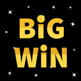 Big Win banner. Golden text Dollar sign gold coin. Decoration element for online casino, roulette, poker, slot machines, card game Stock Image