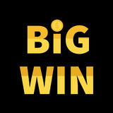 Big Win banner. Golden text with dollar sign gold coin. Decoration element for online casino, roulette, poker, slot machines, card Royalty Free Stock Photos