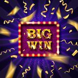 Big win banner illuminated. By spotlights with confetti. Vector illustration stock illustration