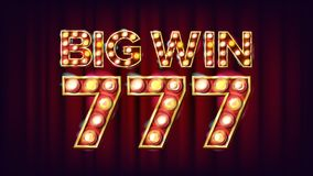 Big Win 777 Banner Vector. Casino 3D Glowing Element. For Fortune Advertising Design. Lucky Illustration. Big Win 777 Banner Vector. Casino 3D Glowing Element Stock Image