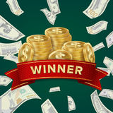 Big Win Billboard For Casino. Winner Sign. Jackpot Prize Design. Coins background. Casino Winner Vector Background. Coins And Dollars Money. Jackpot Prize Royalty Free Stock Image