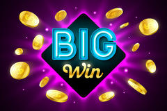 Big Win bright gambling game banner. Big Win bright casino banner with big win inscription sign on bright background and explosion of cold coins flying around Royalty Free Stock Images