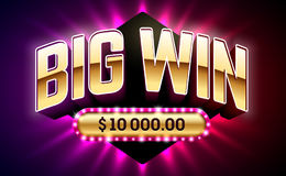 Big Win casino banner. Big Win banner for gambling games such as poker, roulette, slot machines, cards and other casino games vector illustration