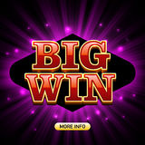 Big Win casino banner. Big Win banner casino games such as poker, roulette, slot machines or card games stock illustration