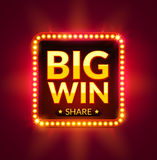 Big Win glowing banner for online casino, slot, card games, poker or roulette. Jackpot prize design background. Winner sign Stock Photos
