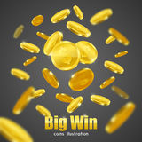Big Win Gold Coins Advertisement Background Poster Royalty Free Stock Photos