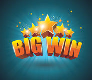 Big Win gold sign for online casino, poker, roulette, slot machi Royalty Free Stock Image
