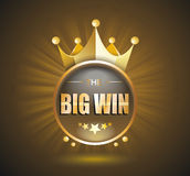 Big Win gold sign for online casino, poker, roulette, slot machi Royalty Free Stock Photos