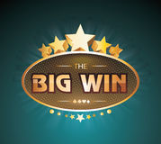 Big Win gold sign for online casino, poker, roulette Stock Image