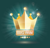 Big Win gold sign for online casino, poker, roulette, slot Stock Photos