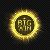 Big Win golden label. Jackpot, Vector illustration Royalty Free Stock Image