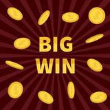 Big Win. Golden text Flying dollar sign gold coin rain. Online casino, roulette, poker, slot machines, card games, gambling club b Royalty Free Stock Images