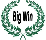 BIG WIN on green laurels sticker label. Royalty Free Stock Photography
