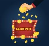 Big win jackpot concept. Casino jackpot. Lucky, success, financial growth. Big win in casino jackpot. Lucky, success, financial growth, money profit. Hand holds Stock Photo