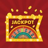 Big win jackpot. Win sign. Casino jackpot winner. Lucky, success. Glowing casino sign Las Vegas. Casino jackpot winner. Lucky, success, financial growth, money Royalty Free Stock Images