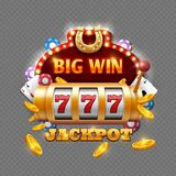 Big win lottery casino  on transparent background. Vector big win in machine slot, gambling game illustration Royalty Free Stock Photo