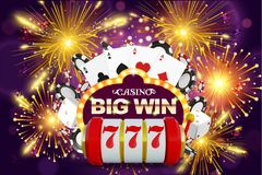 Big win 777 lottery vector casino concept with slot machine, playing chips. Win jackpot in game slot machine. Illustration. Casino banner poster or flyer royalty free illustration