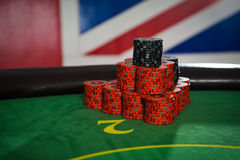 Big win in poker on the background Royalty Free Stock Images