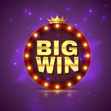 Big win. Prize label winning game lottery poster. Casino cash money jackpot gambling vector website promotion banner stock illustration