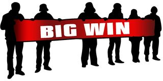 BIG WIN on red banner held by people silhouettes at rally. Illustration Royalty Free Stock Photography