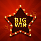 Big win retro banner in form of star with lamps Royalty Free Stock Photos