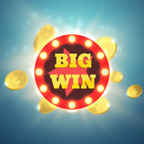 Big Win retro banner with glowing lamps. Vector Royalty Free Stock Photo