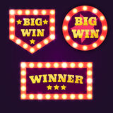 Big Win retro banner with glowing lamps. Vector. Illustration stock illustration