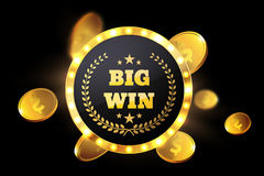 Big Win retro banner with glowing lamps. Vector. Illustration vector illustration