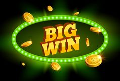 Big win retro banner glowing sign. Big win roulette jackpot casino business background of prize sign.  Stock Images