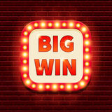 Big Win retro banner template with lightbulb glowing Royalty Free Stock Photography