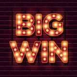 Big Win retro banner template with lightbulb glowing Stock Photo