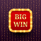 Big Win retro banner template with lightbulb glowing on garland lights Royalty Free Stock Images