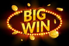 Big win retro glowing banner. Casino roulette winner sign prize. Jackpot label.  royalty free illustration
