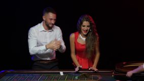 Big win at roulette. Happiness there is no limit stock video