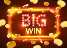 Big win. Shining Retro Banner with Flying Coins. Casino concept. Royalty Free Stock Photos