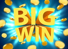 Big win sign with gold realistic 3d coins background. Jackpot concept. Vector illustration Stock Photo