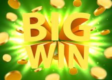 Big win sign with gold realistic 3d coins background. Jackpot concept. Vector illustration Royalty Free Stock Image