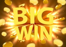 Big win sign with gold realistic 3d coins background. Jackpot concept. Vector illustration Stock Photography