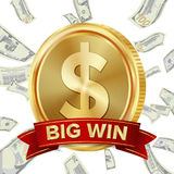 Big Win Sign Vector Background. Design For Online Casino, Poker, Roulette, Slot Machines, Playing Cards, Mobile Game Royalty Free Stock Photography